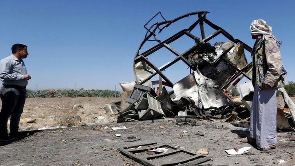 اثار قصف التحالف في مطار صنعاء
