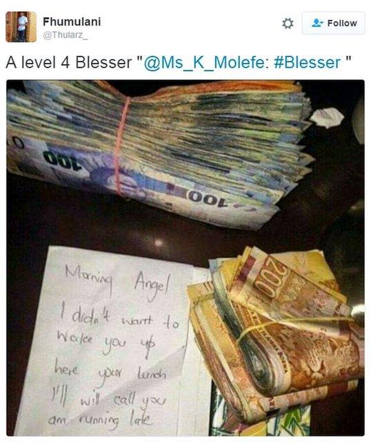 Money left by a blesser