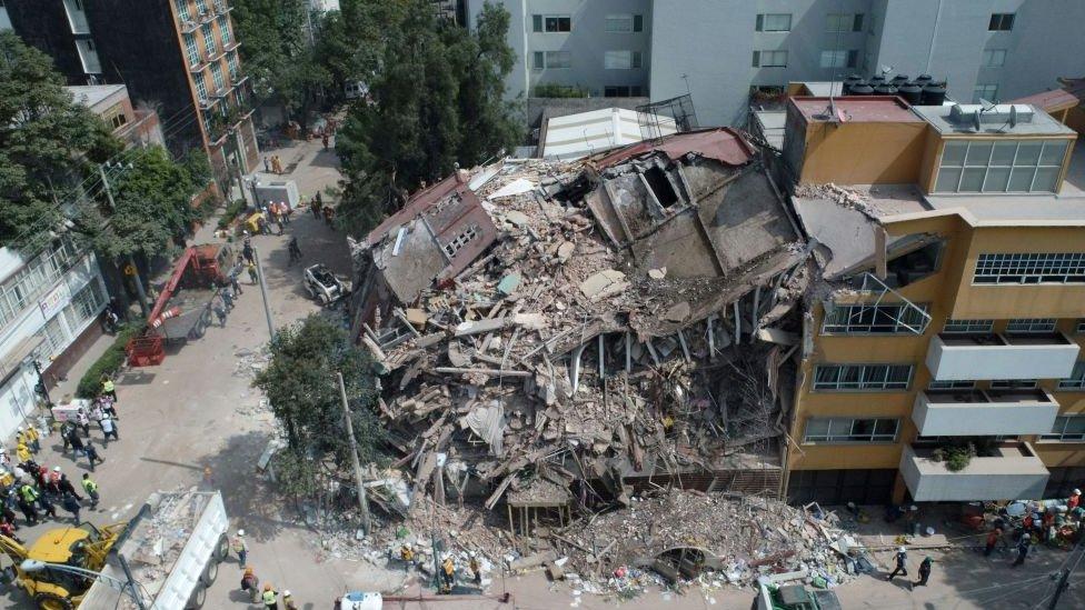 Edificio colapsado en Ciudad de México.