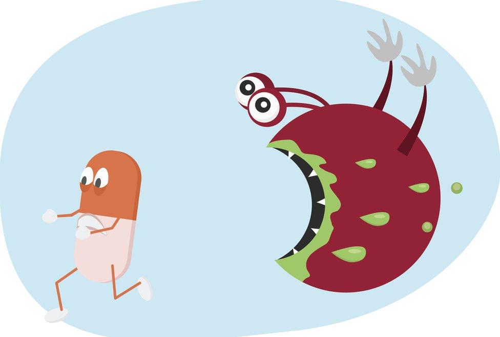 Ilustración de superbacteria.