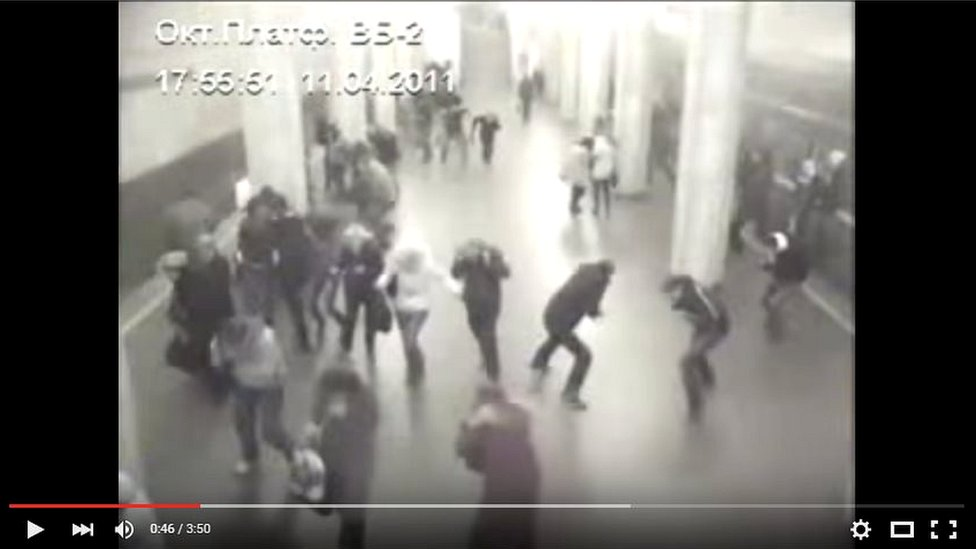 The original CCTV footage shows the explosion taking place in Minsk in April 2011
