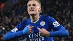 Jamie Vardy scores against Manchester United