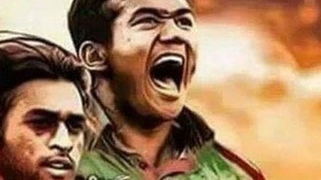 A meme showing Taskin Ahmed, a Bangladeshi cricket star, holding the severed head of Indian captain Mahendra Singh Dhoni