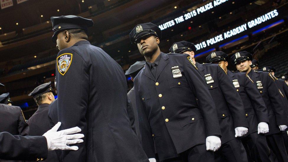 Nuevos reclutas en el Departamento de Policía Nueva York.