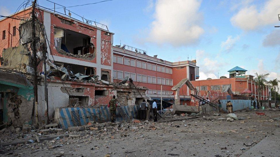 The damaged Sahafi hotel in Mogadishu
