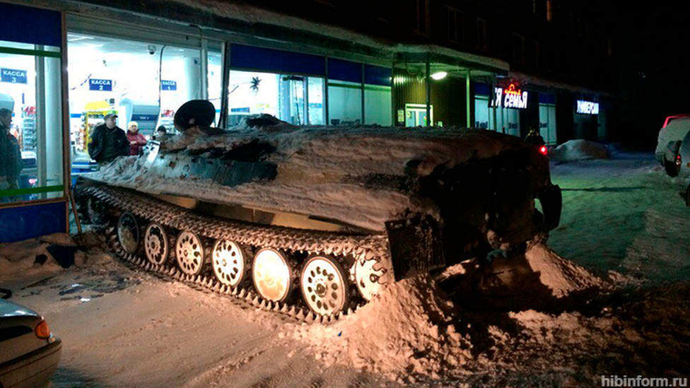 'Bored' Russian man crashes armoured vehicle into shop