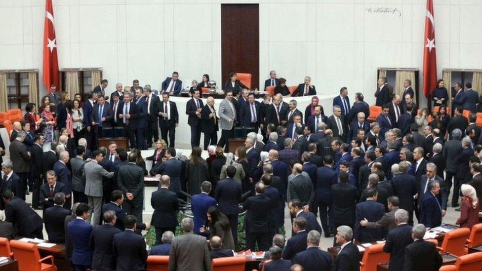شهد البرلمان التركي مشادات كلامية بين مؤيدي ومعارضي الإصلاحات القترحة