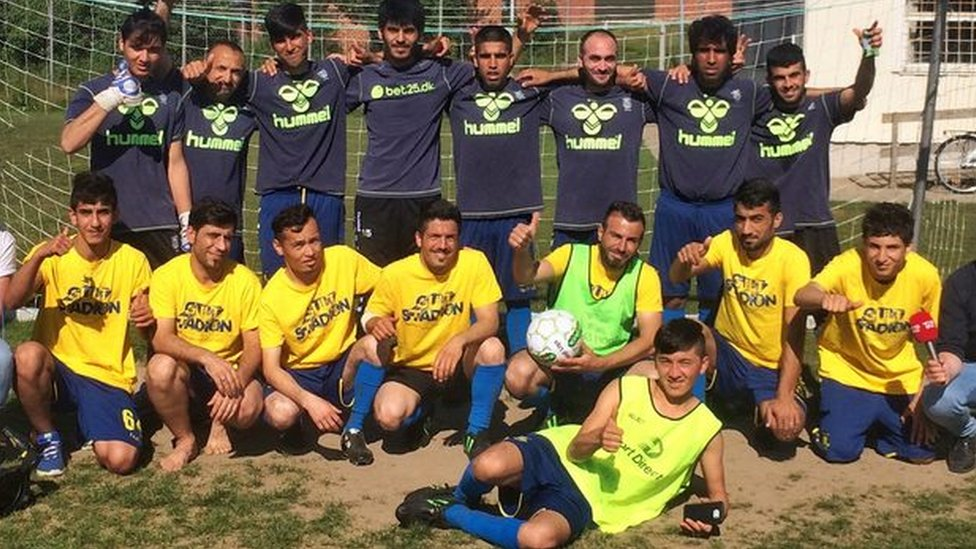 A team photo of players at the Dianalund asylum seeker centre
