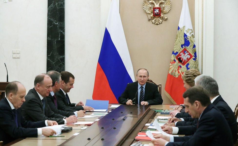 Reunión del Consejo de Seguridad de Putin en abril de 2017.