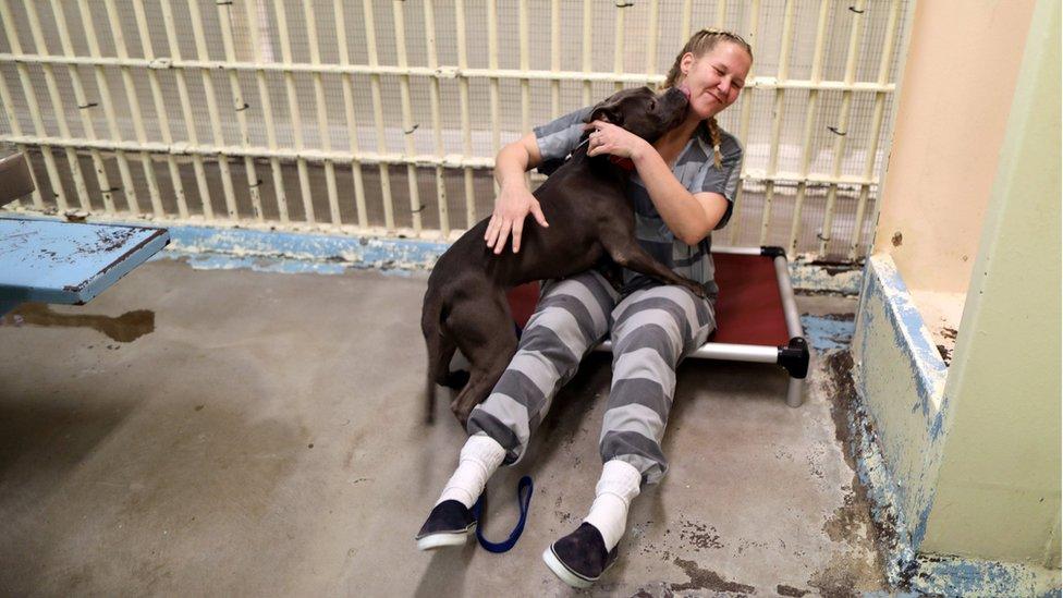 Inmate Kristina Hazelett juega con un perro en la celda de una cárcel