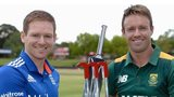 Eoin Morgan and AB de Villiers with the one-day series trophy