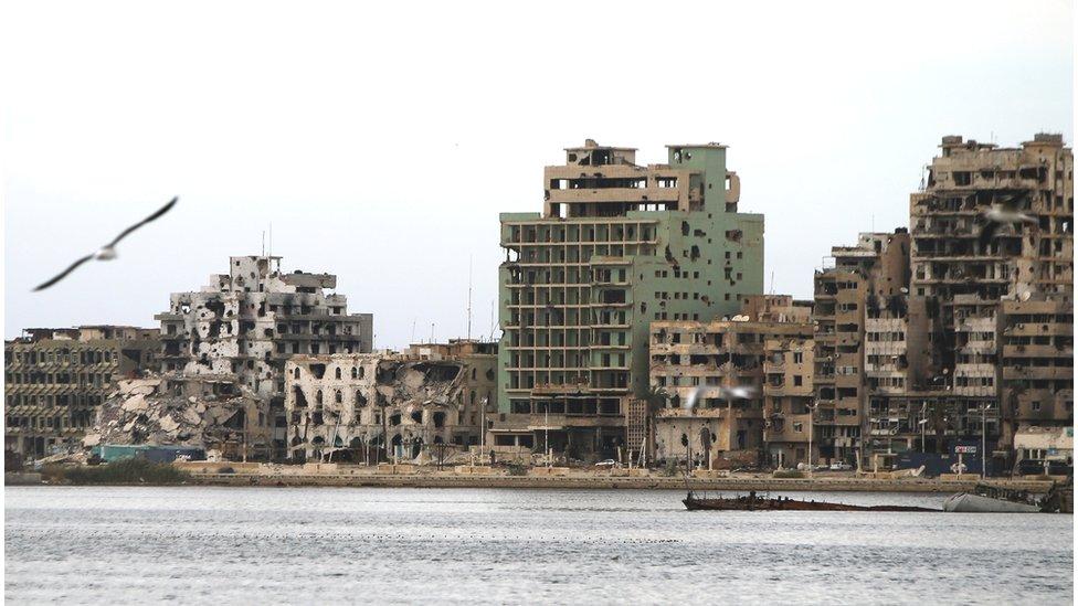 Damaged seafront of Benghazi