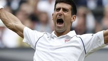 Novak Djokovic celebrates winning Wimbledon