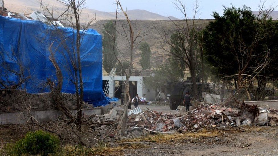 Two Turkish soldiers are killed and dozens are wounded in a suicide attack near the border with Iran blamed on Kurdish PKK militants.