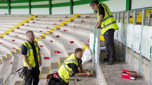 BBC Sport - Celtic Park standing area work begins