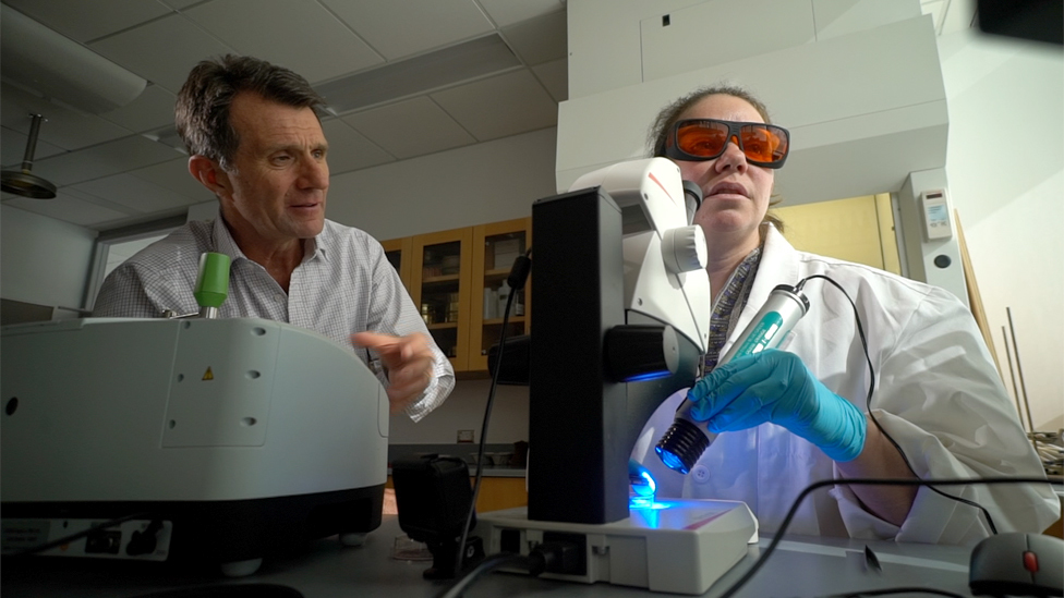 David Shukman y la profesora Sherri Mason.