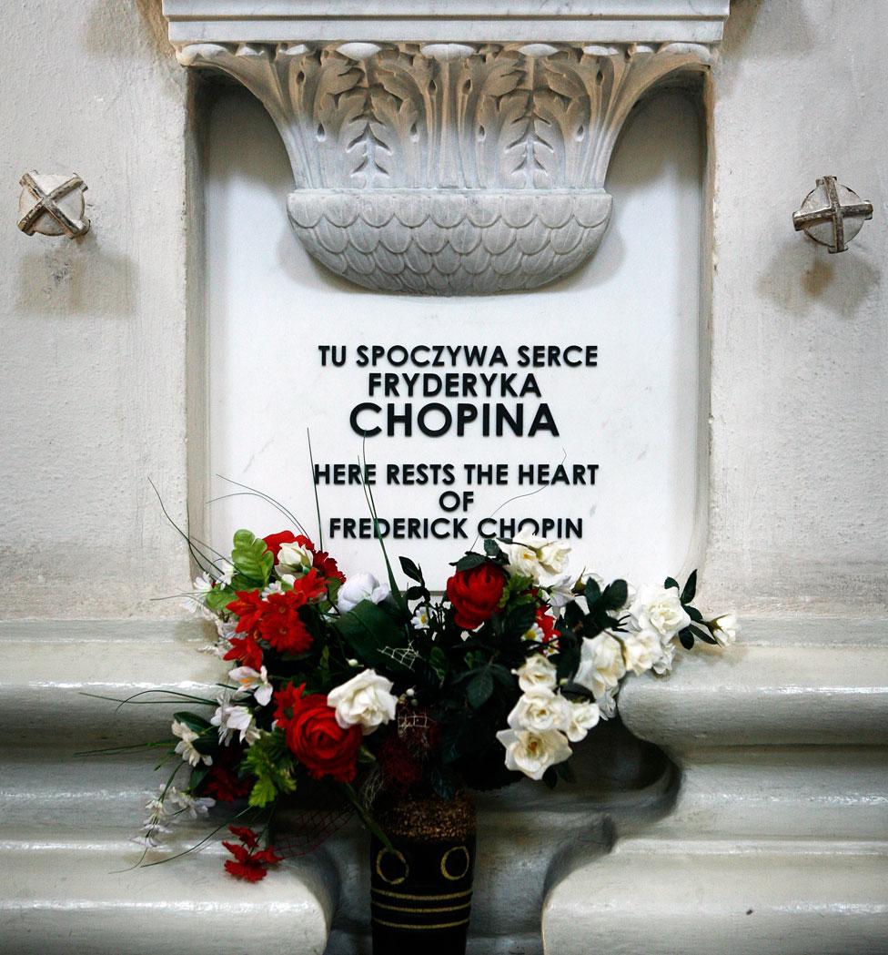 Monumento a Chopin en la iglesia de la Santa Cruz en Varsovia