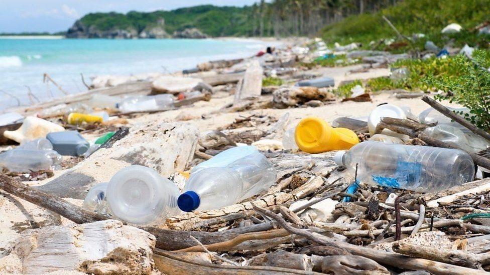 海灘上的塑料垃圾