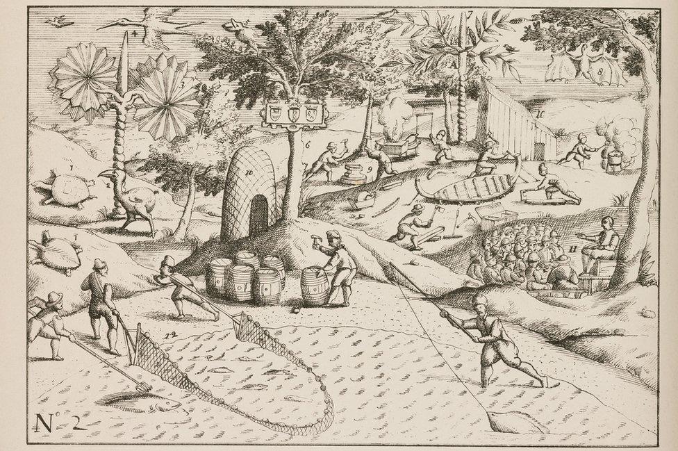 Dibujo de 1848 mostrando a holandeses cazando y haciendo botes