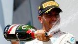 Lewis Hamilton spraying champagne