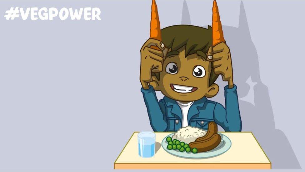 Dibujo animado de niño con zanahorias.