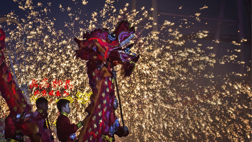 Dragon dance performed to celebrate the traditional Lantern Festival in the capital Beijing in February 2015.