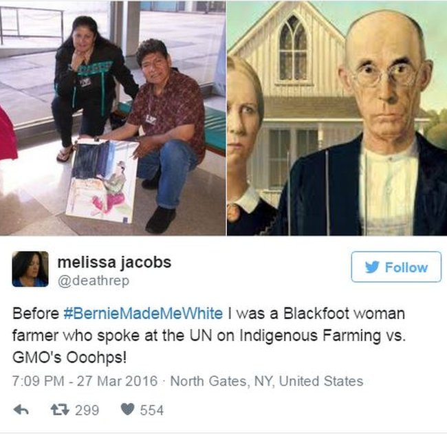 Before #BernieMadeMeWhite I was a Blackfoot woman farmer who spoke at the UN on Indigenous Farming vs. GMO's
