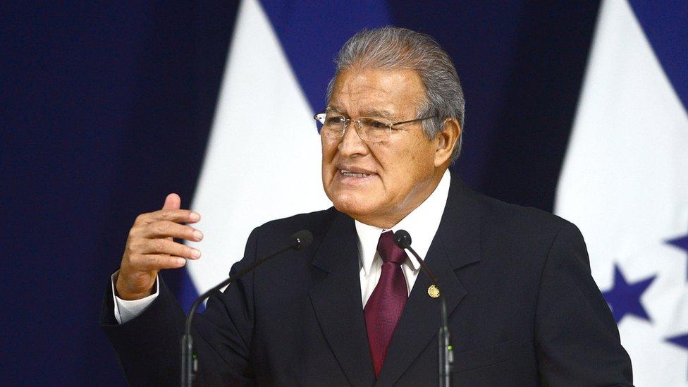 Salvadorean President Salvador Sanchez Ceren speaks at a news conference in San Salvador on 10 February 2015.
