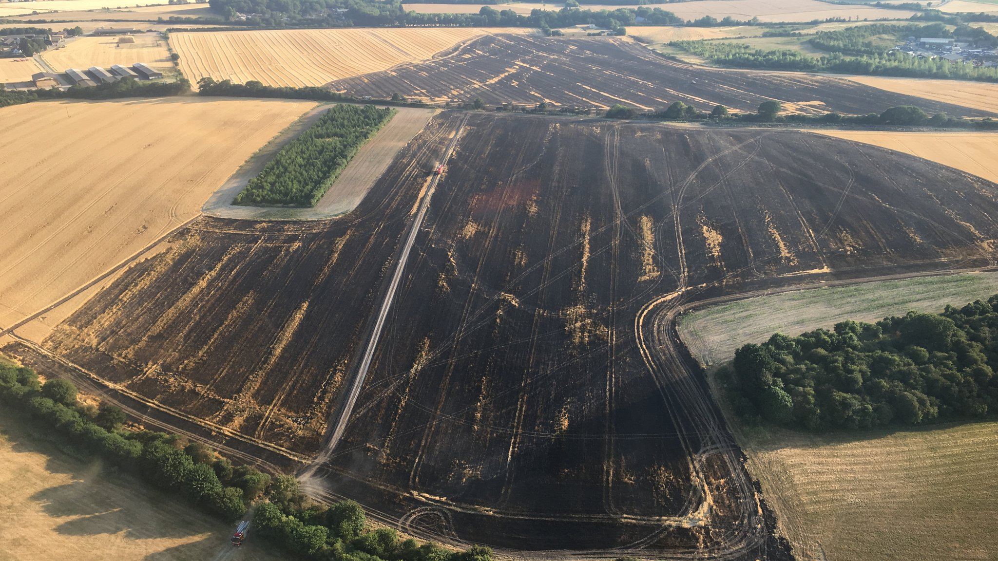 Wallingford farmers plough fields to help stop fire