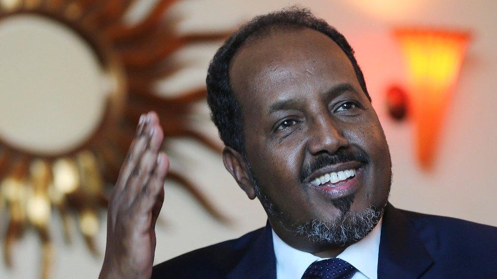 Somali President Hassan Sheikh Mohamud visits Dubai, in the United Arab Emirates, in November 2015.