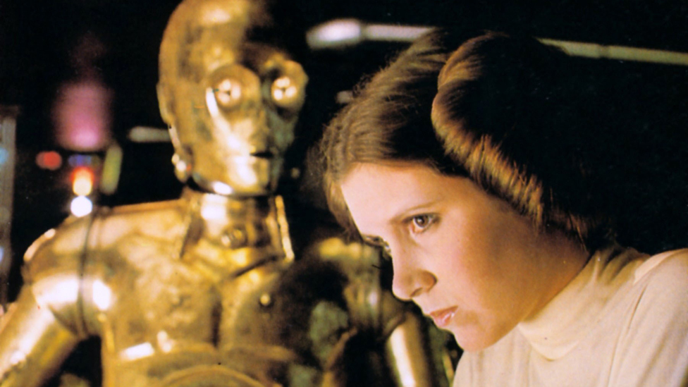 C3PO and Princess Leia (Carrie Fisher) in the original 1977 Star Wars film