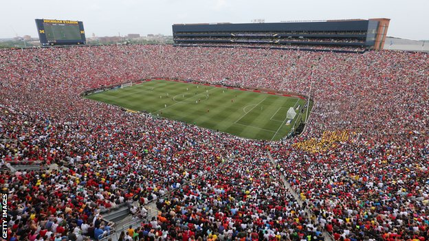 More than 109,000 fans watched Manchester United play Real Madrid in a friendly in Michigan, US, in 2014