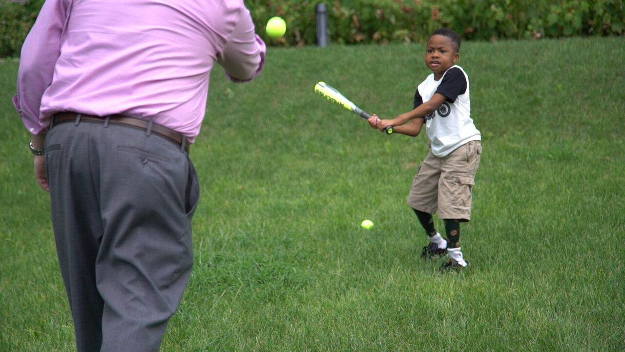 Zion Harvey: Double hand transplant boy plays baseball