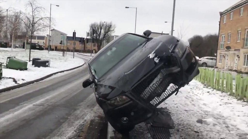 Car left in mid-air on bollards after Peterborough collision