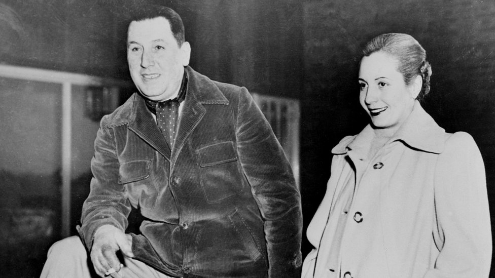 Argentine President Juan Peron is pictured with his wife, Evita, in the 1940s.
