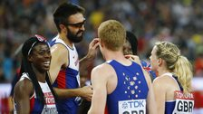 Great Britain's relay teams celebrates