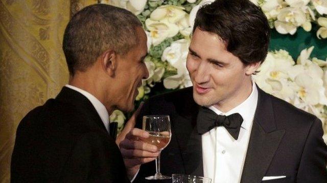 Obama and Trudeau trade jokes in Washington