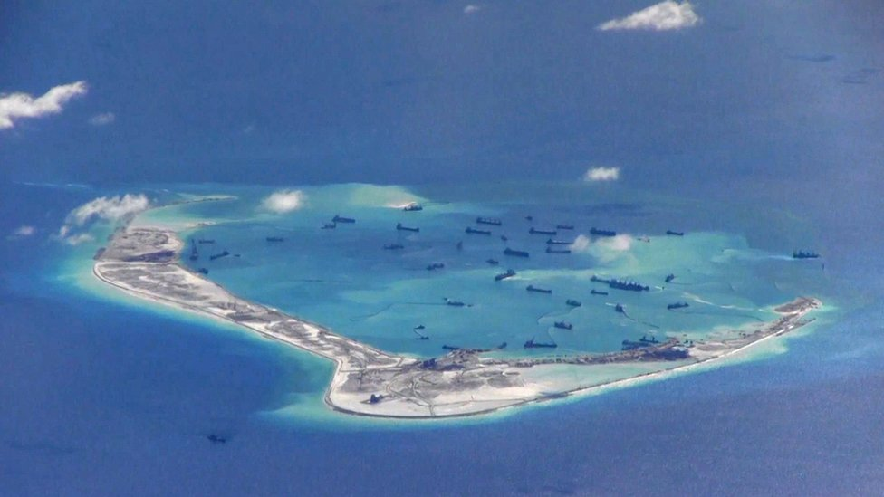 航拍中國在美濟礁填海(資料圖片)