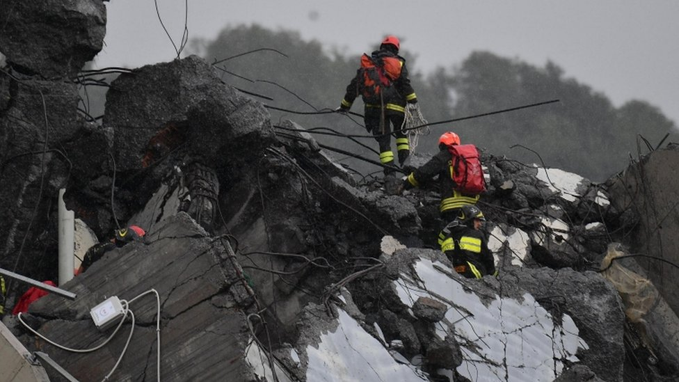 In pictures: Genoa motorway bridge collapse