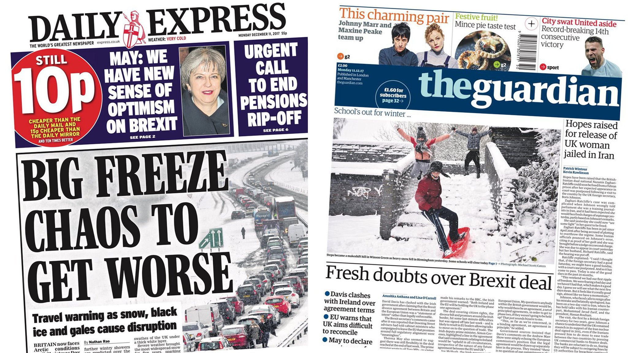 Paper review: 'Big freeze' and fresh Brexit doubts