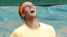 Rafael Nadal celebrates winning the Monte Carlo Masters
