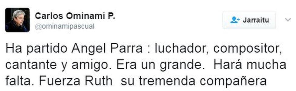 Tuit de Carlos Ominami