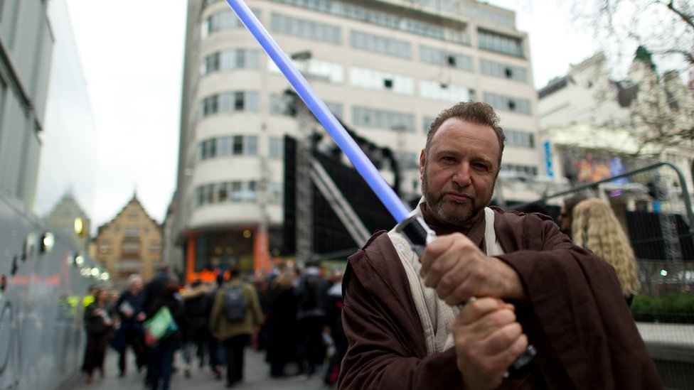 Star Wars fan dressed as Jedi