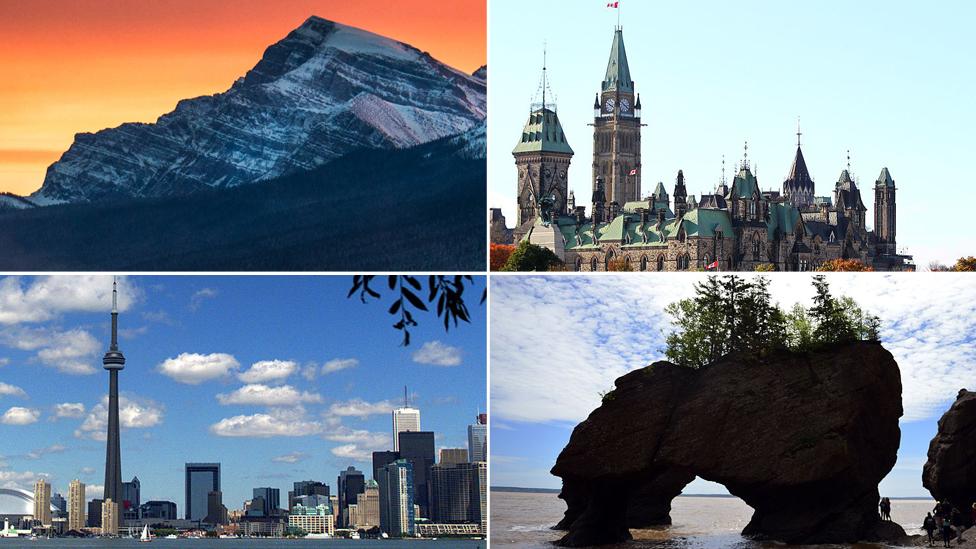 Cuatro imágenes distintas de Canadá.