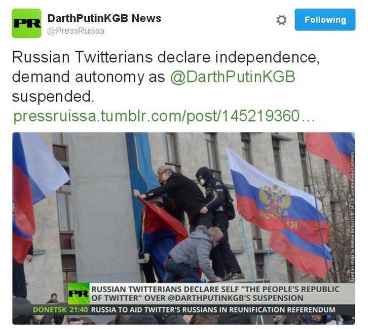 Russia Today parody tweet