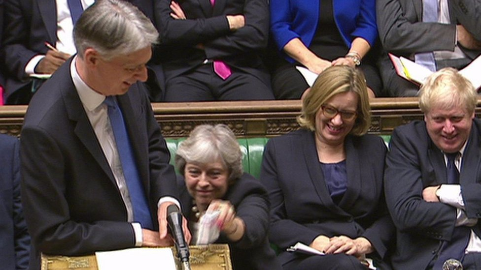 Budget 2017: May hands cough sweets to Hammond