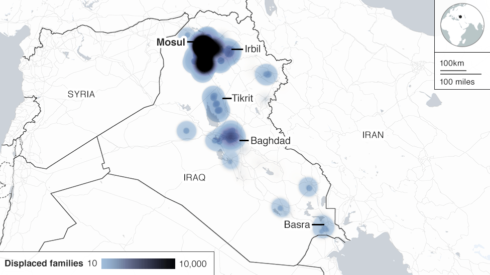 Map showing where Mosul's displaced people have fled to