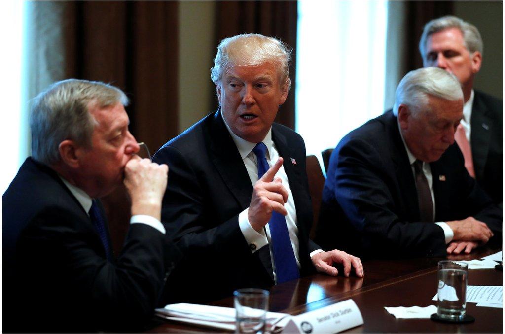 美國總統特朗普與參議員德賓(左一)和眾議院多數黨領袖凱文·麥卡錫等人在白宮就移民改革法案舉行兩黨會議( 2018年1月9日)。