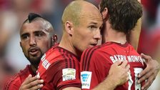 (left to right) Bayern's Arturo Vidal, Arjen Robben and Thomas Muller