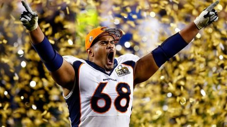 Ryan Harris of the Denver Broncos celebrates